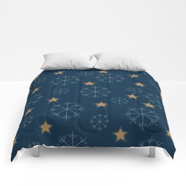 Snowflakes and stars - dark blue and beige Comforters
