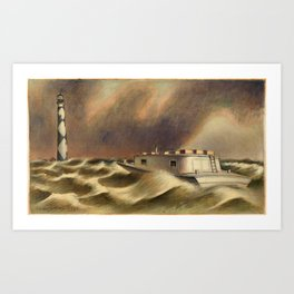 Mail to Cape Lookout nautical landscape painting by Simka Simkhovitch Art Print