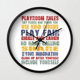 Playroom Rules - Scratch Font Wall Clock