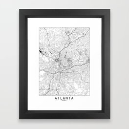 Atlanta White Map Framed Art Print