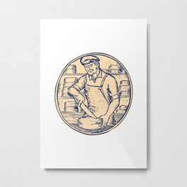 Cheesemaker Cutting Cheddar Cheese Etching Metal Print