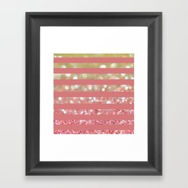 Champagne Tango Stripes Framed Art Print