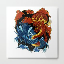 Fire and Ice Chinese Dragons Metal Print