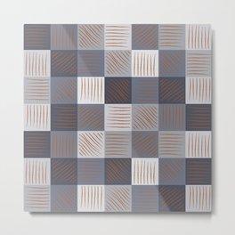 Rust strokes on Blue Grey Checks Metal Print
