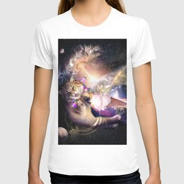 Galaxy Space Cat Reaching Ice Cream With Laser T-shirt