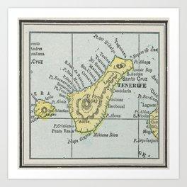 Vintage Tenerife Island Map (1901) Art Print