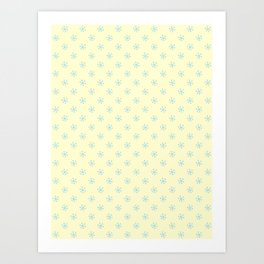 Baby Blue on Cream Yellow Snowflakes Art Print