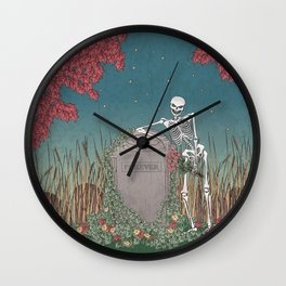 Skeleton Leaning on Grave Wall Clock
