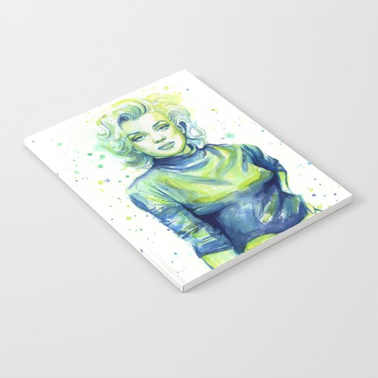 Marilyn Portrait Watercolor Painting Actress Old Hollywood Notebook