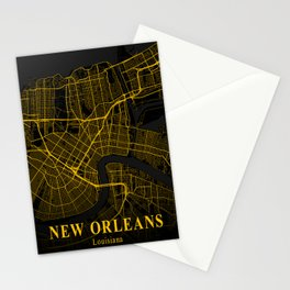 New Orleans Louisiana City Map | Gold American City Street Map | United States Cities Maps Stationery Cards