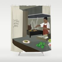 mexican Shower Curtains featuring Mexican Tacos by Hanniban