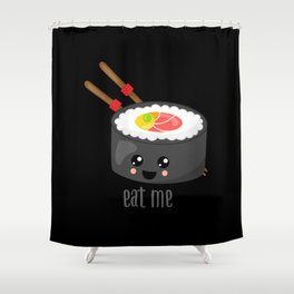 Eat Me in black Shower Curtain