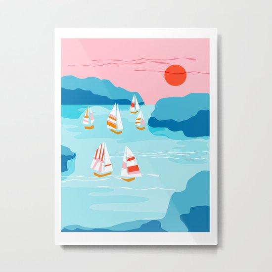Tight - memphis throwback retro vintage classic sport boating yachting sailboat harbor sea ocean art Metal Print