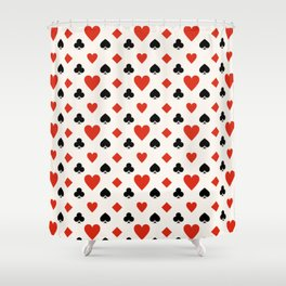 Playing Card Suit with Hearts, Spades, Clubs & Diamonds Shower Curtain