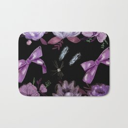 water floral in black Bath Mat