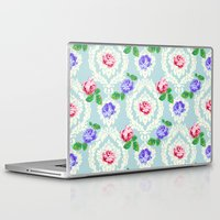 shabby chic Laptop & iPad Skins featuring Shabby Chic Rose Pattern by Figen Topbas