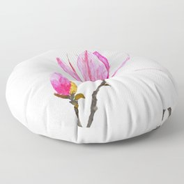 magnolia watercolor painting Floor Pillow