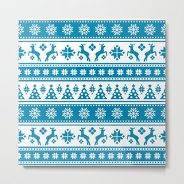 Christmas Holiday Nordic Pattern Cozy Metal Print