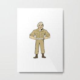 Ranger Standing Attention Cartoon Metal Print