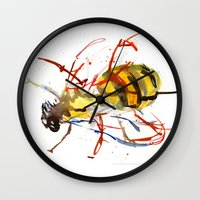 bee Wall Clocks featuring Bee by Lauren Thawley