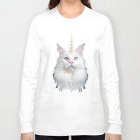unicorn Long Sleeve T-shirts featuring Unicorn Cat by Oh Monday