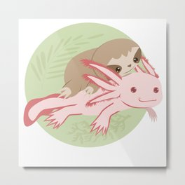 Cute Axolotl Sloth Water Aquarium Pet Animal Gift Metal Print