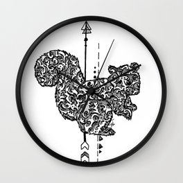 Black and white zentangle squirrel Wall Clock