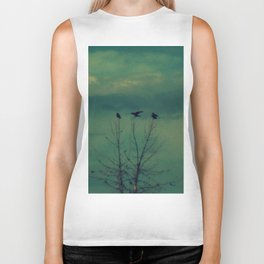 Ravens Come Gathering in a Soft Turquoise Sky Biker Tank