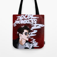 arctic monkeys Tote Bags featuring Arctic Monkeys- Up in Smoke by Tune In Apparel