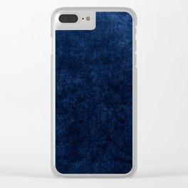 Royal Blue Velvet Texture Clear iPhone Case