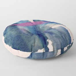 Pour: a blue and purple abstract watercolor Floor Pillow