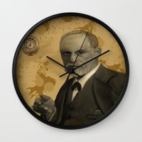 freud Wall Clocks featuring Sigmund Freud by susana