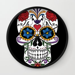 Colorful Sugar Skull Wall Clock