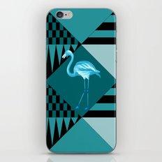 flamingo in blue iPhone Skin