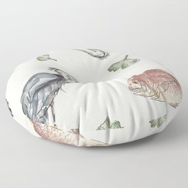 Heron and Fish Floor Pillow