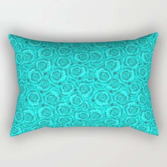 Roses . Neon turquoise . Rectangular Pillow