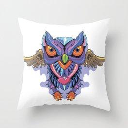 Owl Colors Throw Pillow