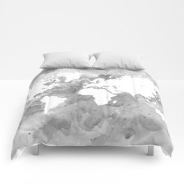 Design 49 Grayscale World Map Comforters