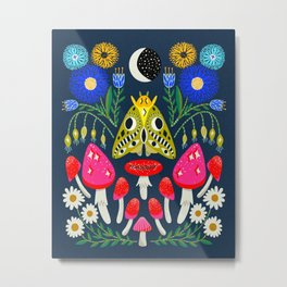 Moth Moon - moon art, witchy art, mushroom art, magic mushrooms, groovy art, daisies Metal Print