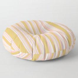 Splendid Stripes - Retro Modern Stripe Pattern in Gold, Pink, White, and Mushroom Floor Pillow