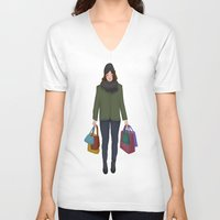 shopping V-neck T-shirts featuring christmas shopping by Lenas 9th Art