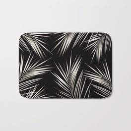 White Gold Palm Leaves on Black Bath Mat