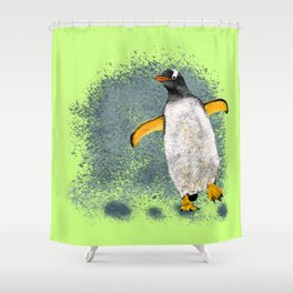 Penguin Charly - Lime Shower Curtain