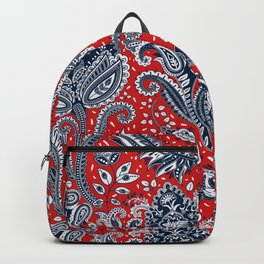 Red White & Blue Floral Paisley Backpack