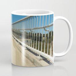 bridge approach new empty clear blue sky. Coffee Mug