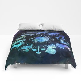 As Above, So Below - Zodiac Illustration Comforters