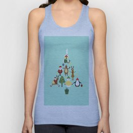 Christmas tree with reindeer, Santa Claus and bear Unisex Tank Top