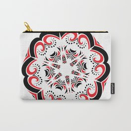 Floral Black and Red Round Ornament Carry-All Pouch