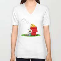 peanuts V-neck T-shirts featuring Peanuts time by geminiska