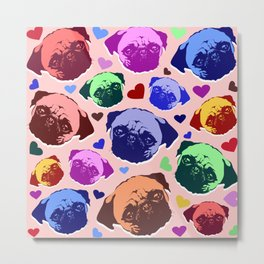 Pug Puppy Dog Love Hearts Pattern Metal Print